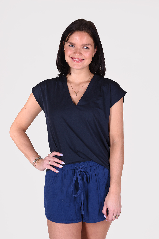 Frame t-shirt Le Mid Rise V blauw