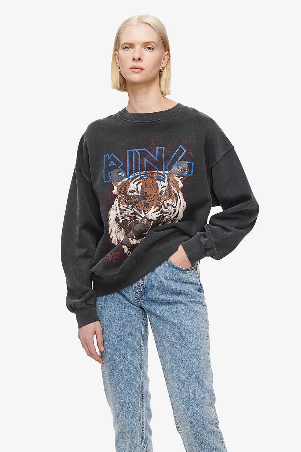 Anine Bing trui Tiger A-08-5002-000 zwart