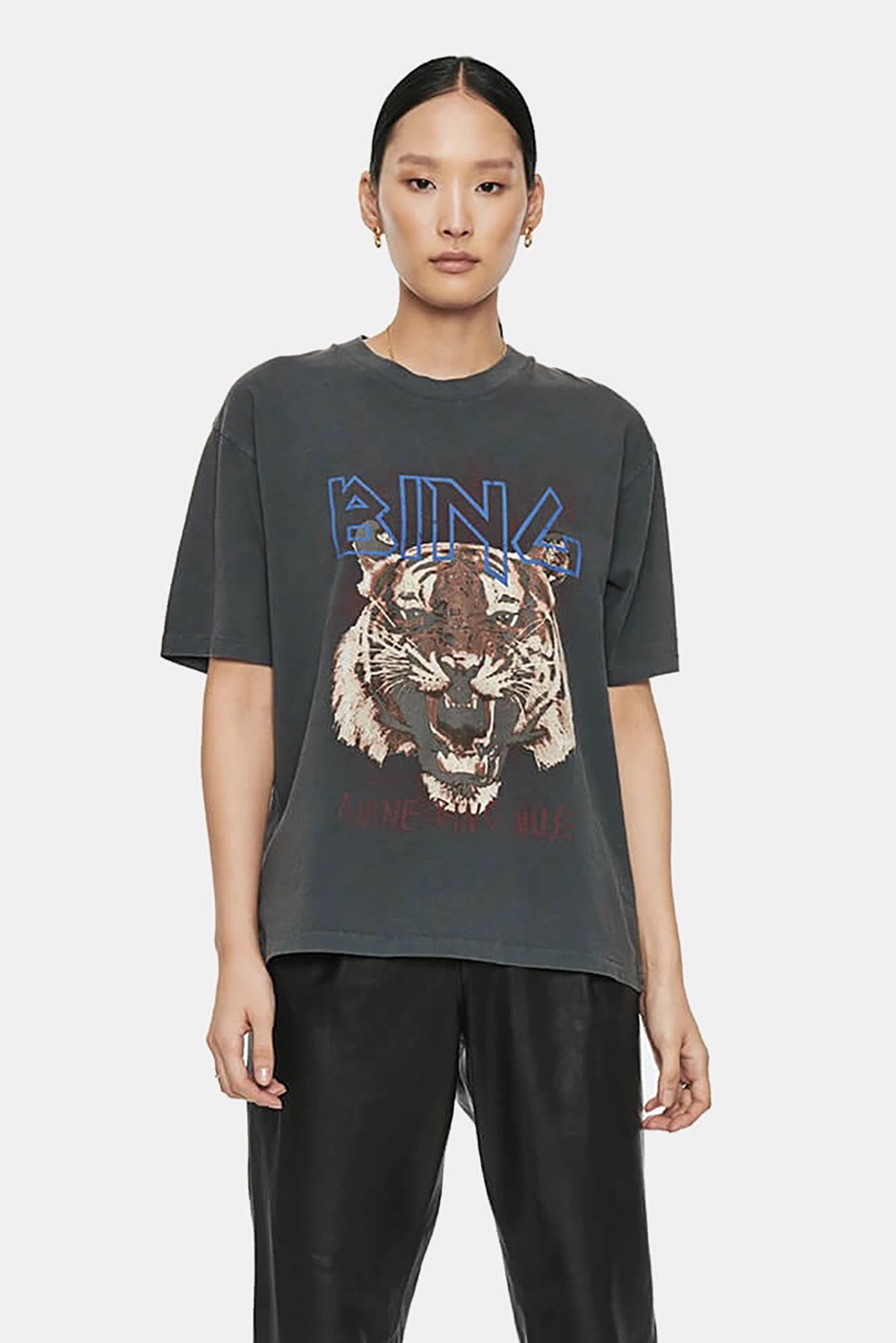 Anine Bing t-shirt Tiger A-08-2003-000 zwart