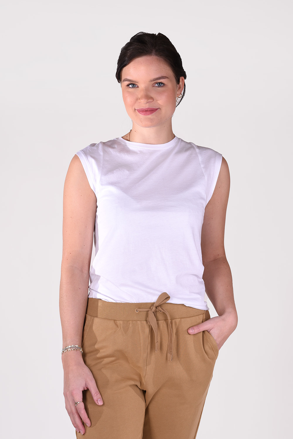 FRAME t-shirt Le Mid Rise Muscle LWTS0930 wit