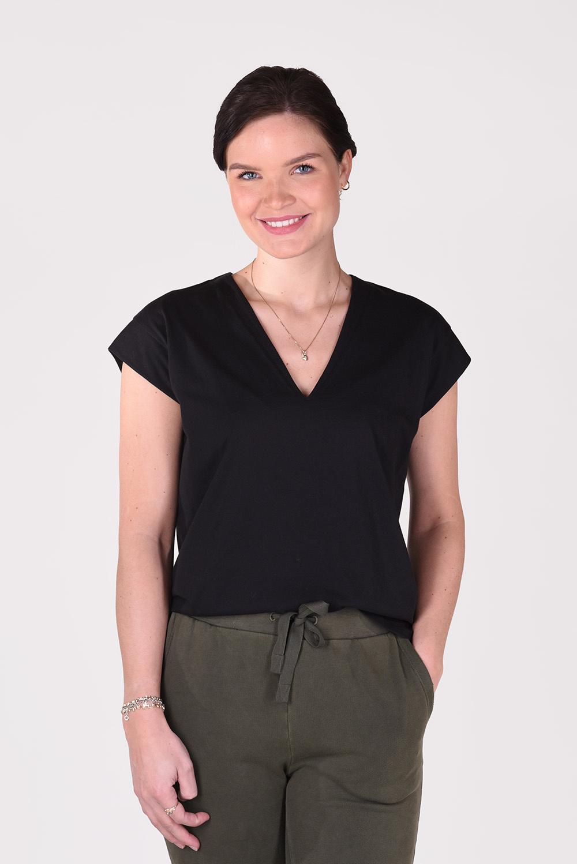 FRAME t-shirt Le Mid Rise V LWTS0826 zwart