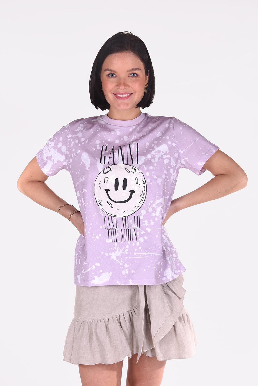 Ganni t-shirt T2939 roze