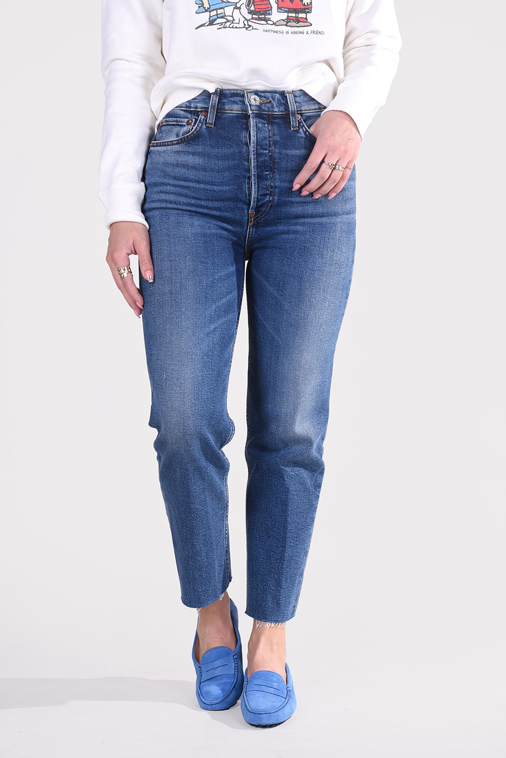 Re/Done jeans Ultra High Rise Stove Pipe 190-3WUHRSTV/A blauw