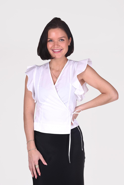 Ganni blouse F6340 wit