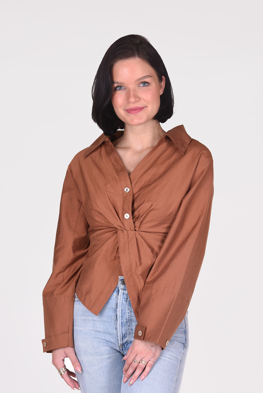 Nanushka blouse Idris NW21RSTP01077 cognac