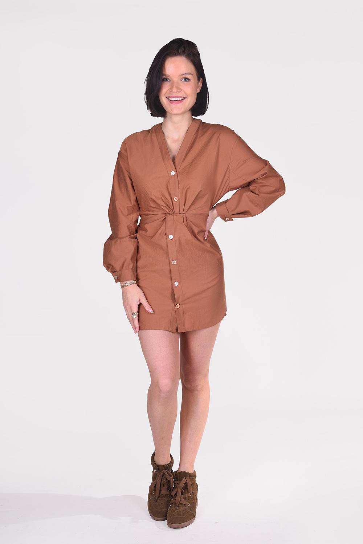 Nanushka jurk Johanna NW21RSDR00877 cognac