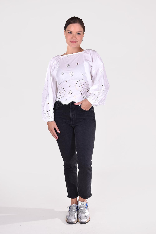 Ganni blouse F5992 wit
