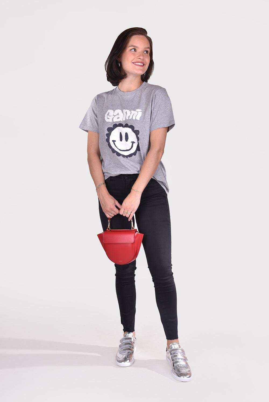 Ganni t-shirt T2873 grijs