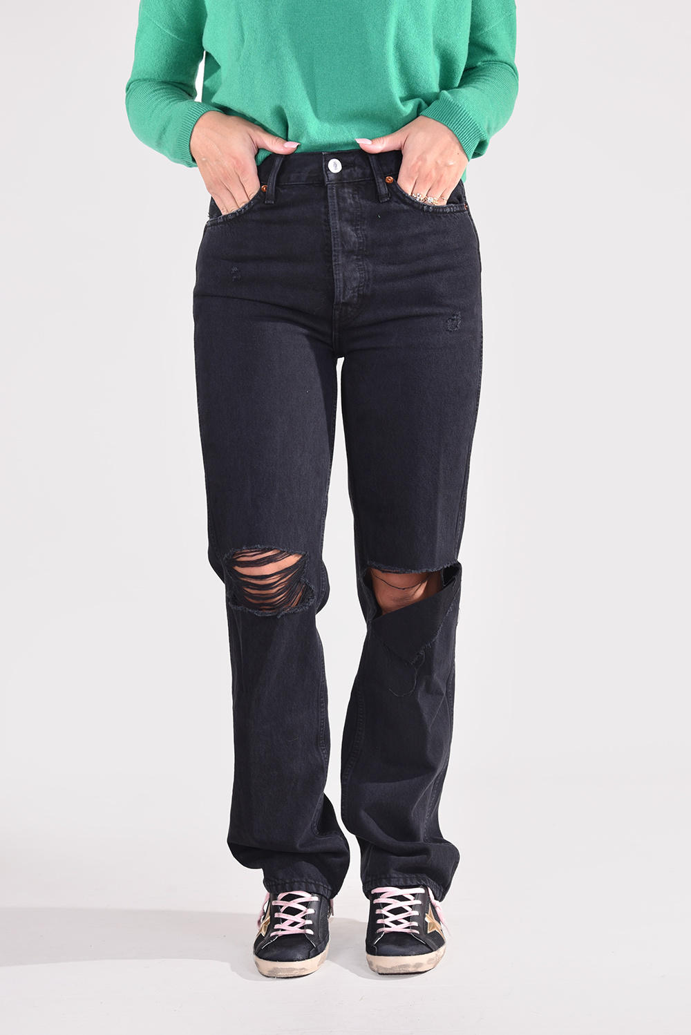 Re/Done jeans 90s High Rise Loose 184-3WHRL zwart