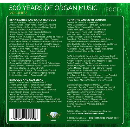 Brilliant Classics 500 Years Of Organ Music Vol. 2 (50CD)
