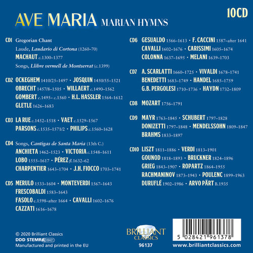 Brilliant Classics AVE MARIA: MARIAN HYMNS