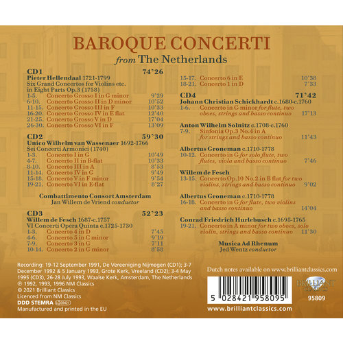 Brilliant Classics BAROQUE CONCERTI FROM THE NETHERLANDS (4CD) KZ 1-2021