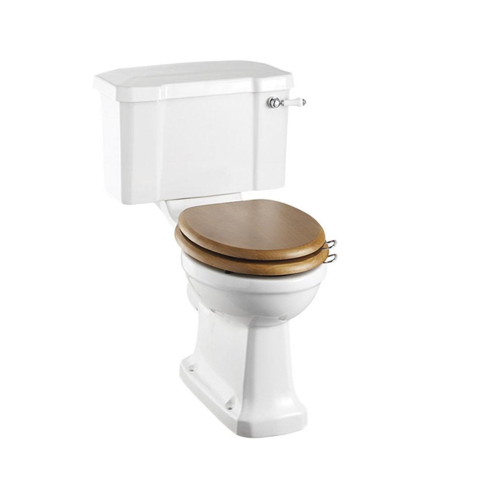 BB Edwardian Duoblok toilet met porseleinen hendel, achteruitlaat (PK), toiletpot zonder spoelrand