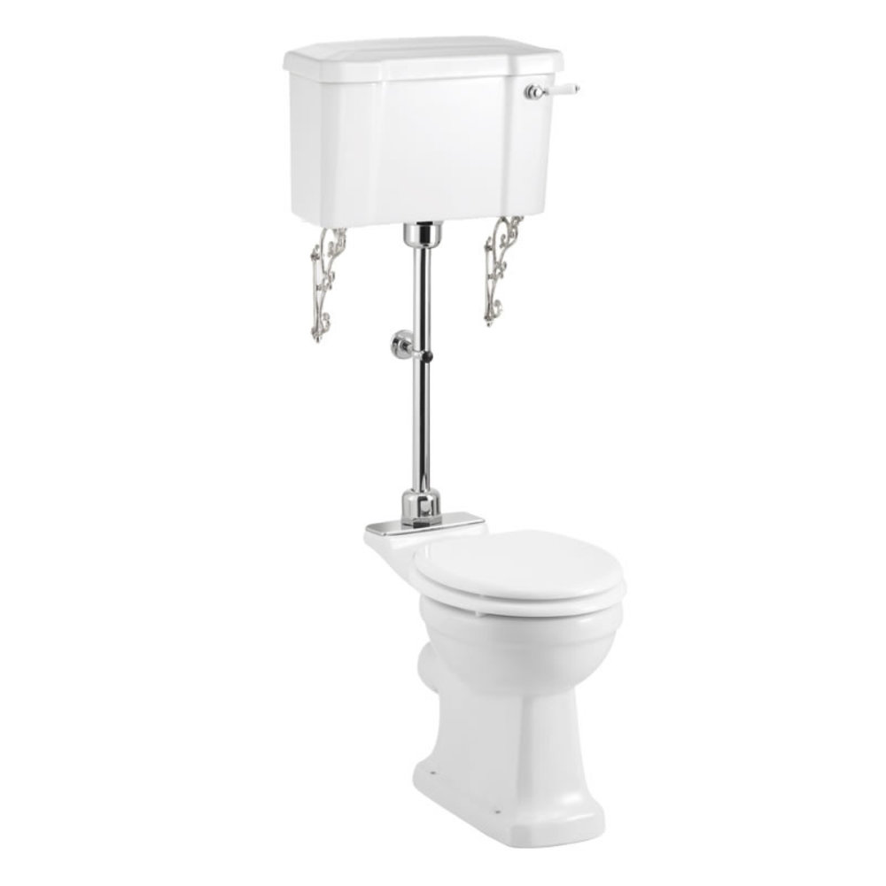 BB Edwardian Medium level toilet with porcelain cistern and rimless pan - p-trap
