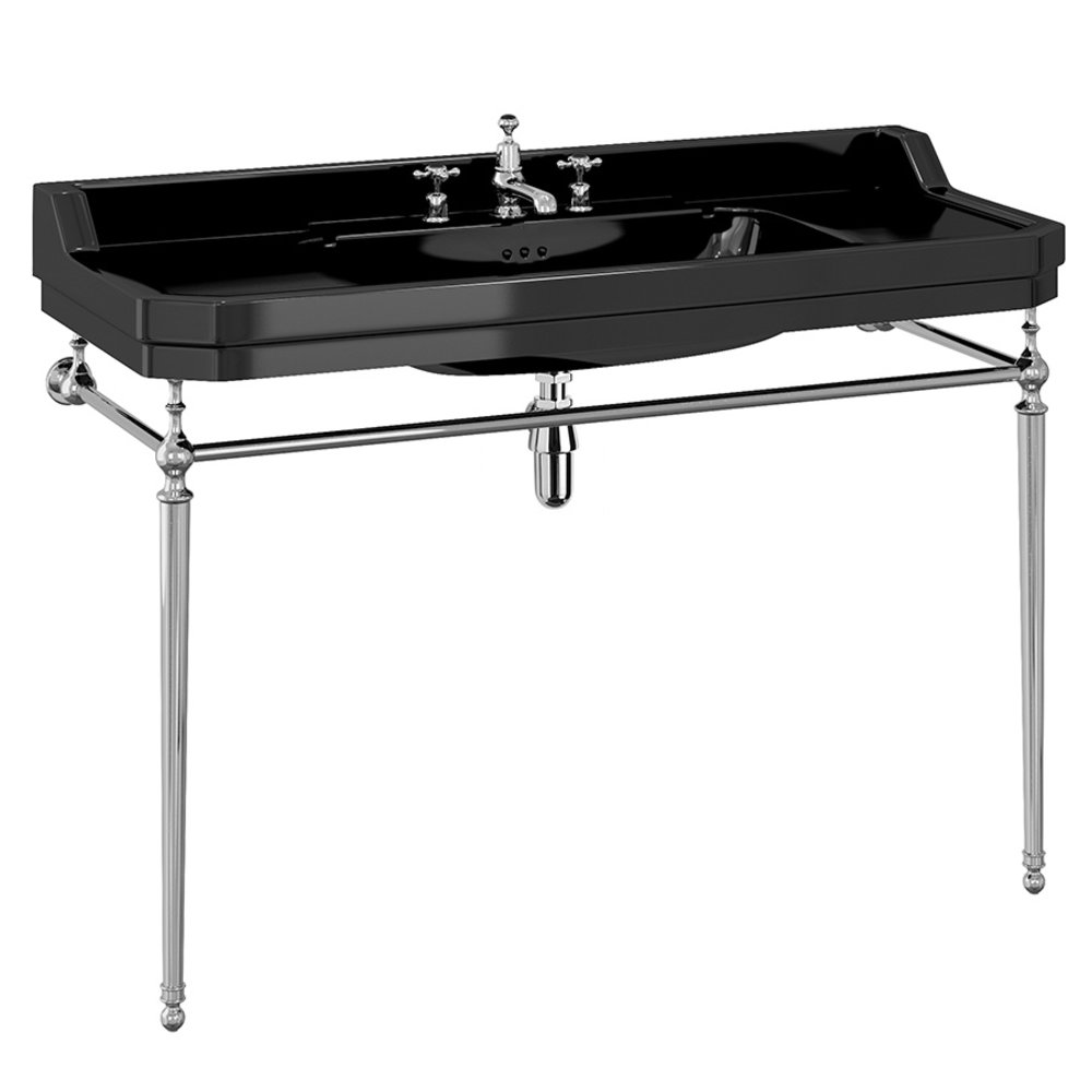 BB Edwardian Bespoke Edwardian 120cm Black basin with metal stand