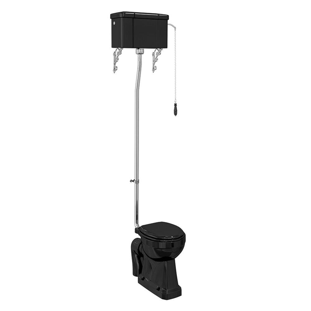 BB Edwardian Bespoke High level toilet (p-trap) with porcelain cistern - black