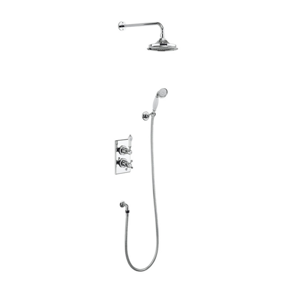 BB Edwardian Trent Concealed thermostatic shower valve with shower rose and  hand shower