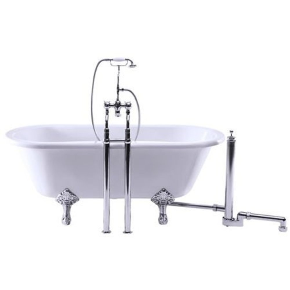 BB Edwardian Black Kensington Black bath shower mixer with stand pipes