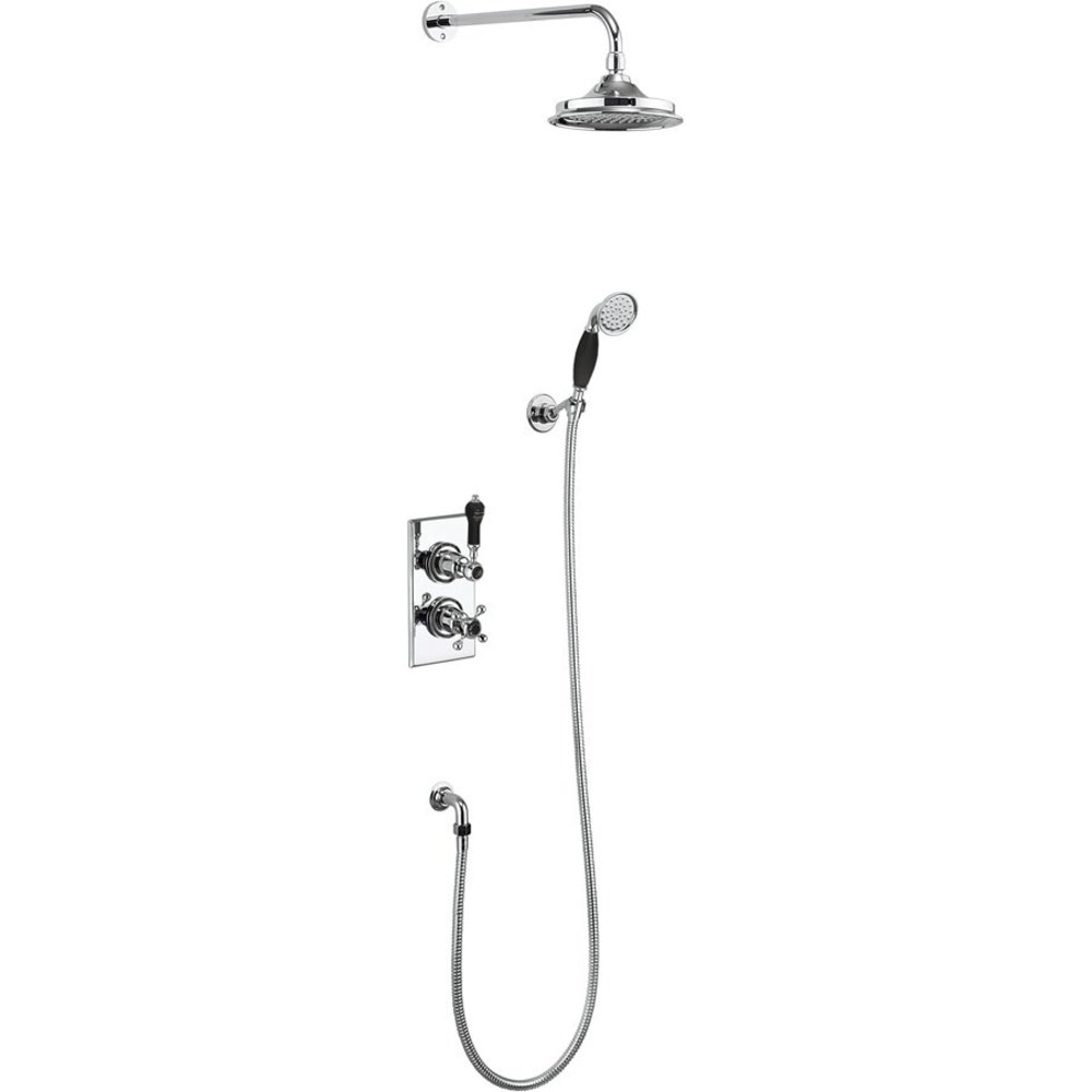 BB Edwardian Black Trent Black Concealed thermostatic shower valve with shower rose and  hand shower