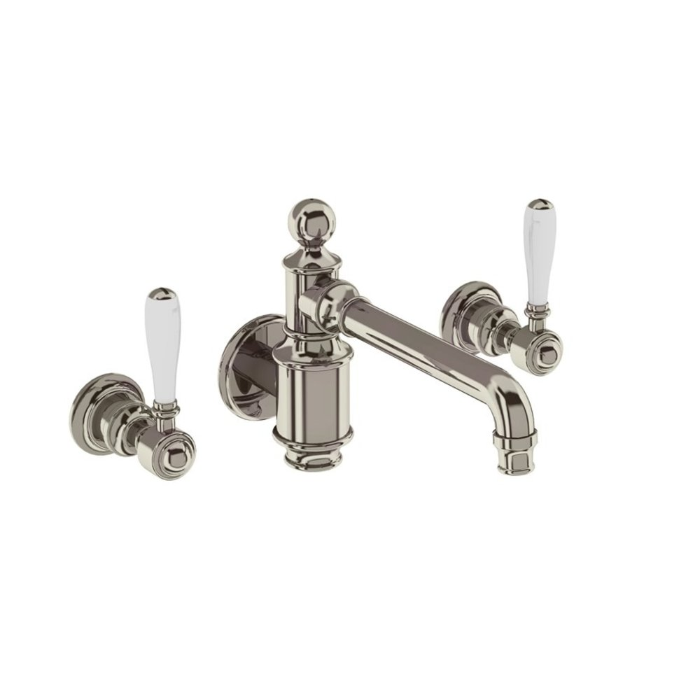 BB Arcade Lever 3-hole basin mixer with lever handles - wall mounted