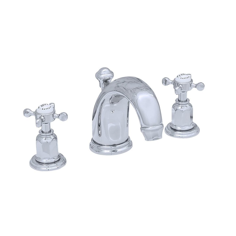 Perrin & Rowe Victorian White 3-hole basin mixer with crosshead handle E.3701