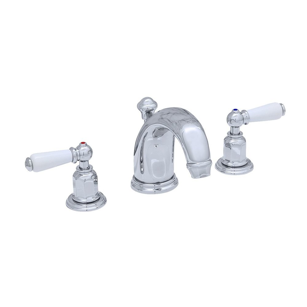 Perrin & Rowe Victorian White 3-hole basin mixer with porcelain lever handles E.3700