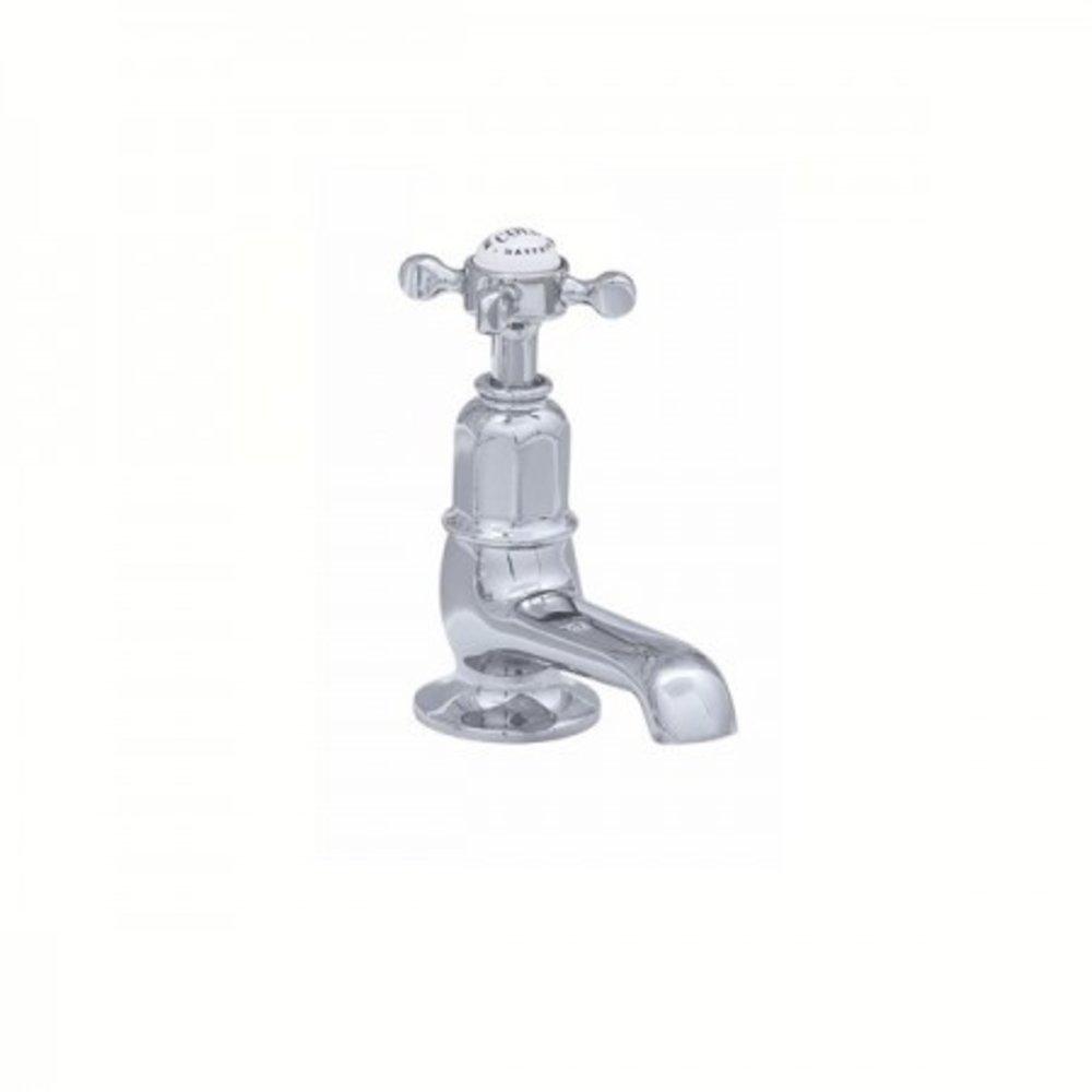 Perrin & Rowe Victorian White Victorian cold pillar tap with crosshead E.3486