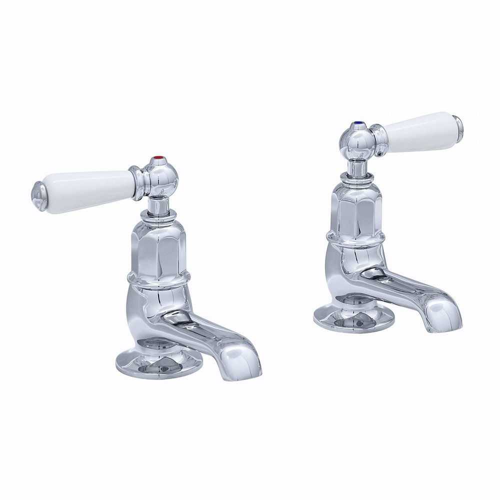 Perrin & Rowe Victorian White Victorian pair of pillar taps with levers E.3475