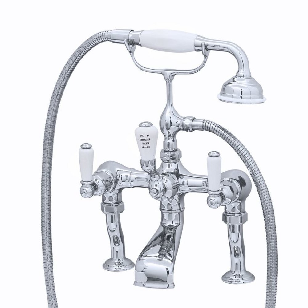 Perrin & Rowe Victorian White Bath shower mixer with lever E.3500/1