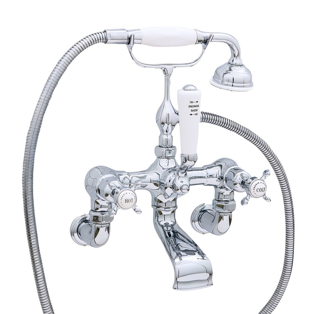 Perrin & Rowe Victorian White Wall mounted bath shower mixer with crosshead E.3511/1