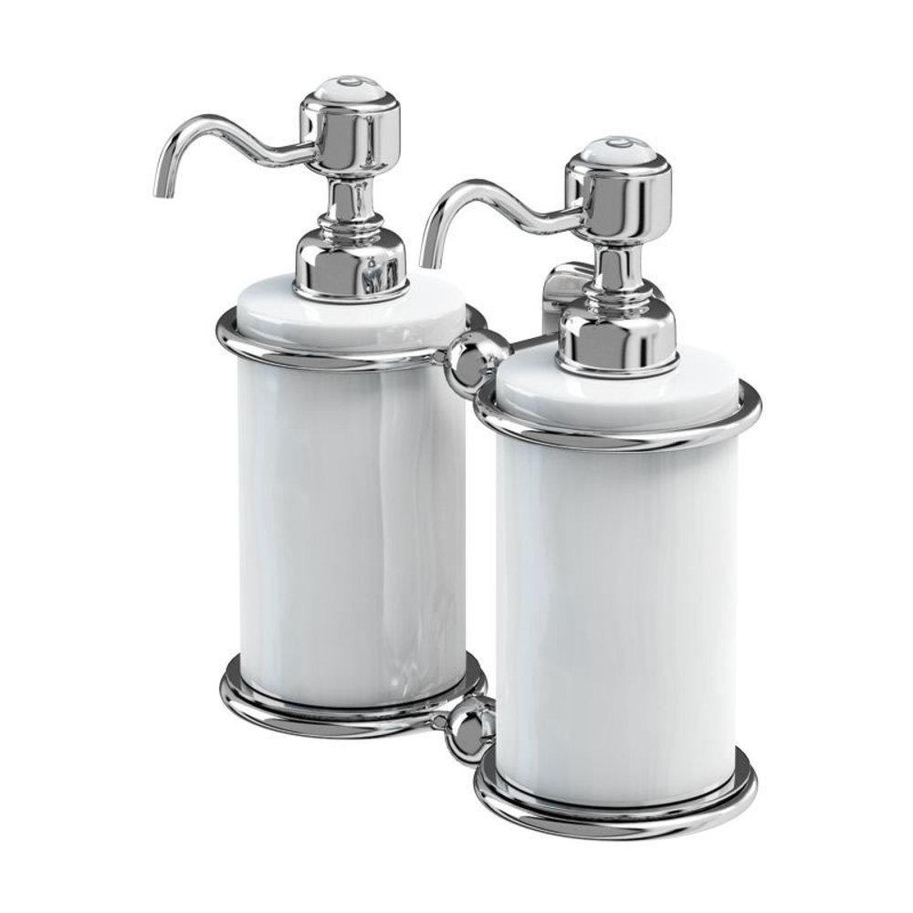 BB Edwardian Edwardian wall mounted Double soap dispenser, white porcelain
