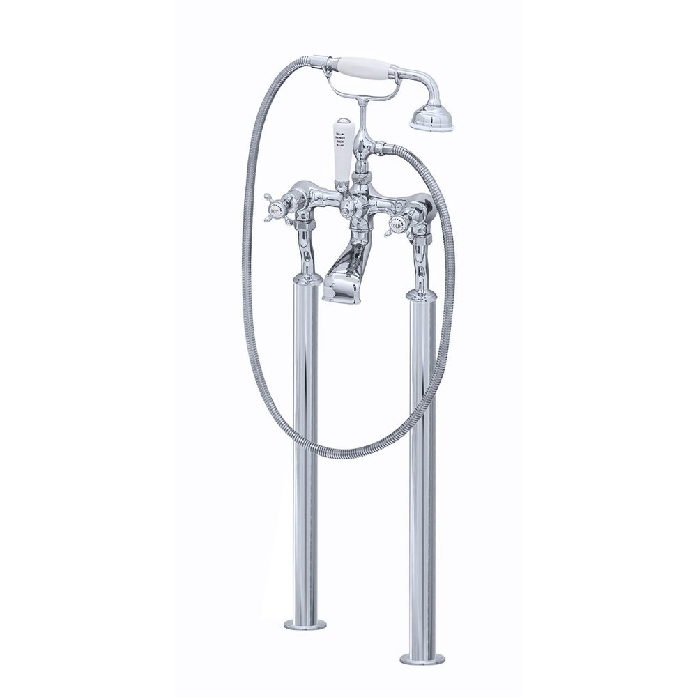 Perrin & Rowe Victorian White Free standing bath shower mixer with crosshead E.3521/1