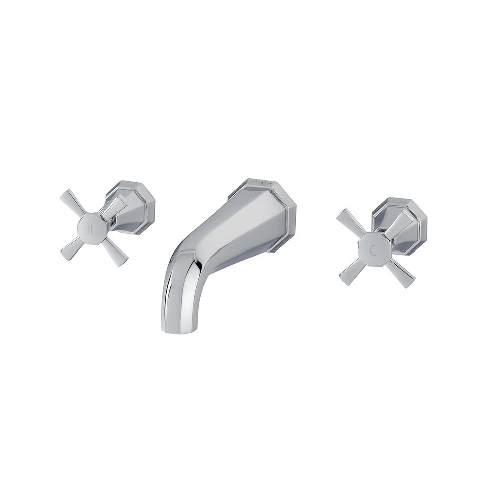Perrin & Rowe Deco Deco 3-hole wall  mounted basin mixer with crosshead handles E.3171
