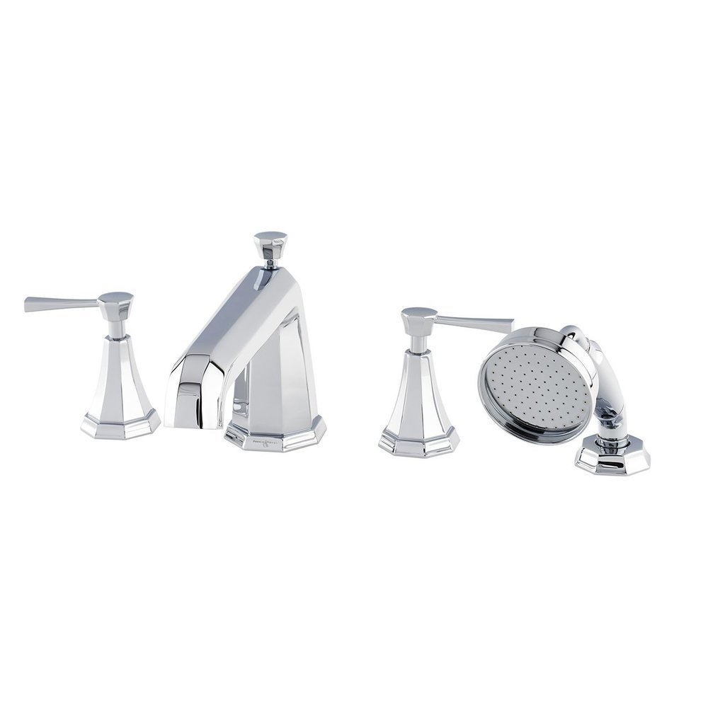 Perrin & Rowe Deco Deco deck mounted bath set with hand shower - levers E.3148