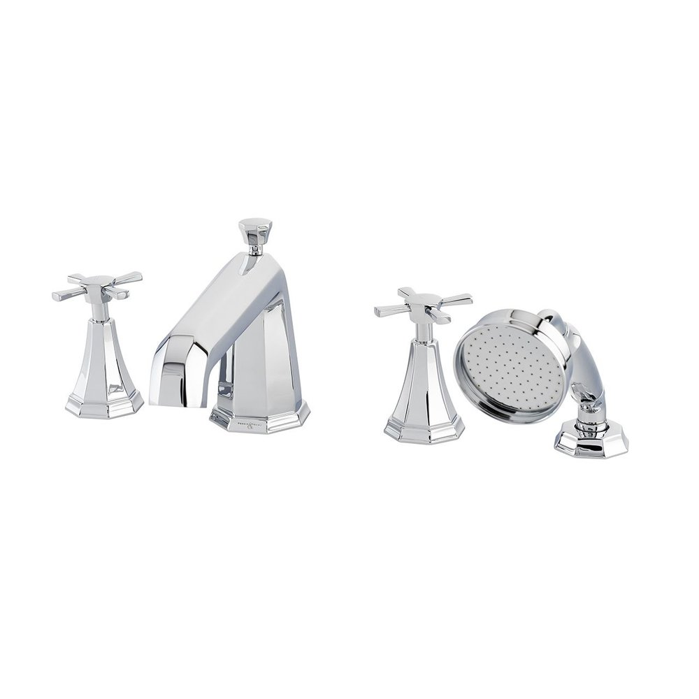Perrin & Rowe Deco Deco deck mounted bath set with hand shower - crosshead  E.3149