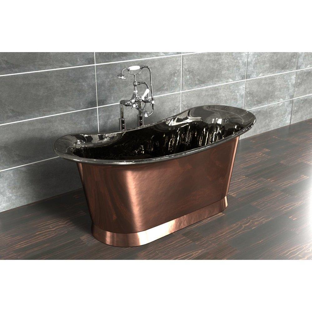 William Holland Freestanding copper bath Bateau, finish copper/nickel