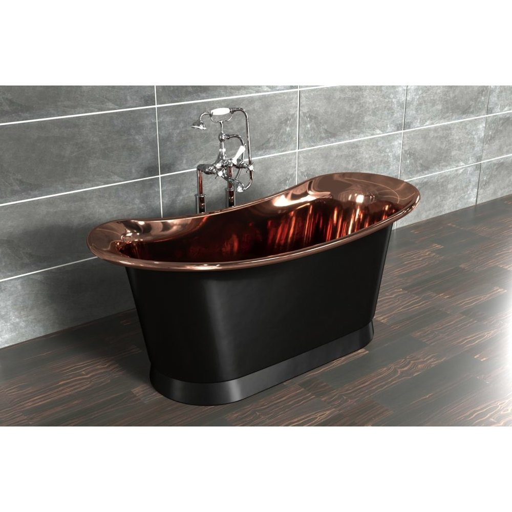 William Holland Freestanding copper bath Bateau, finish charcoal/copper