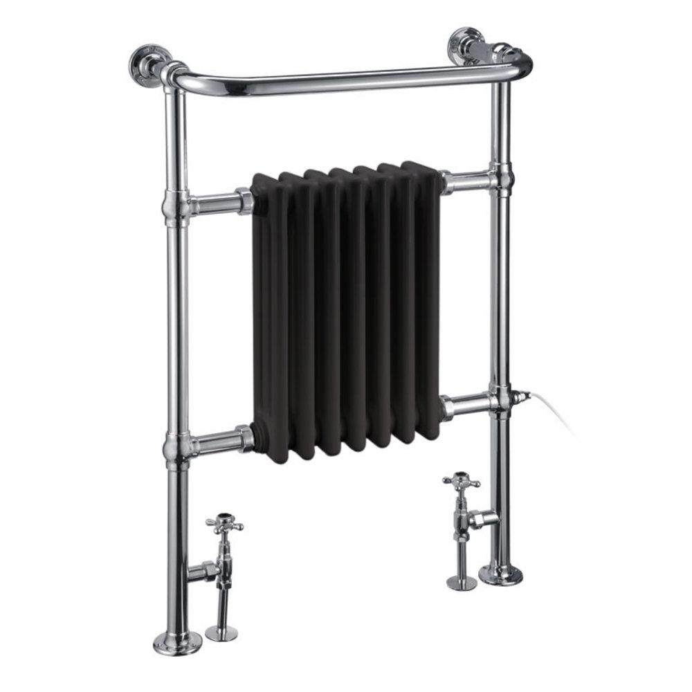 Burlington Traditional towel rail with black column inset Trafalgar Black R1