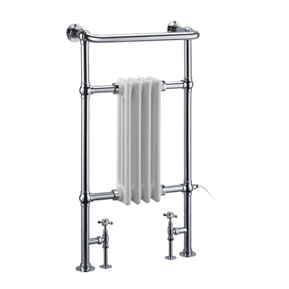Burlington Traditional towel rail with white column inset Bloomsbury R2