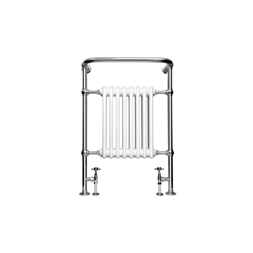 Imperial IMP Traditional towel rail with white column inset Malmo 8 bar