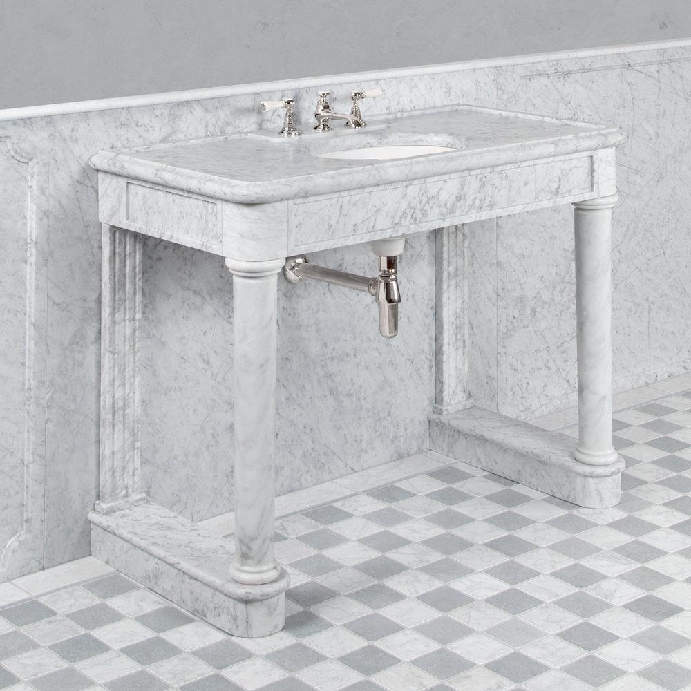 Lefroy Brooks Marble LB Russborough single carrara marble console LB-6331WH