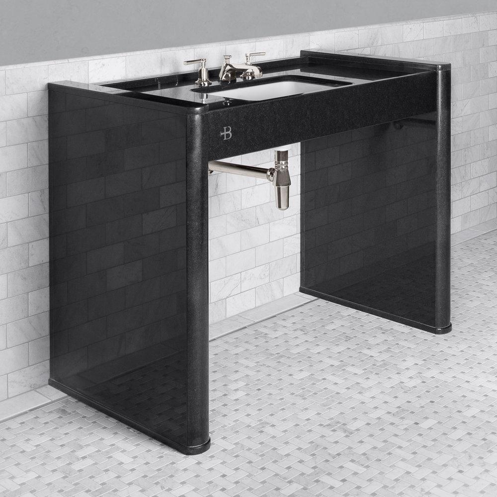 Lefroy Brooks Marble LB Piano Black gepolijste granieten console wastafel LB-6342BK