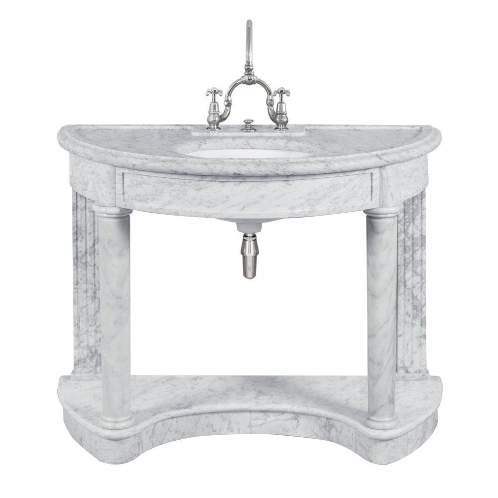 Lefroy Brooks Marble LB Demi Lune Carrara marmer console wastafel LB-6330WH