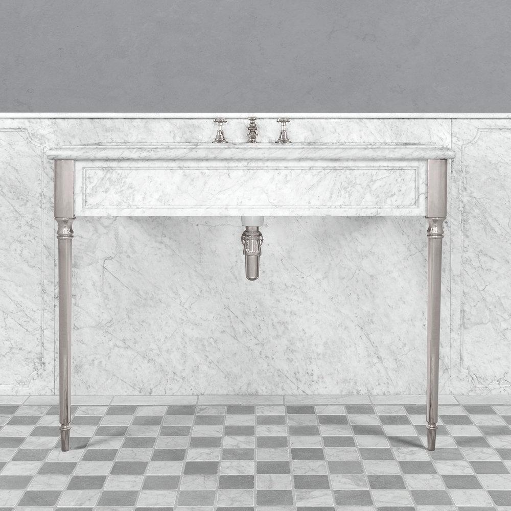 Lefroy Brooks Marble LB Edwardian Carrara marmer console wastafel met poten LB-6334WH