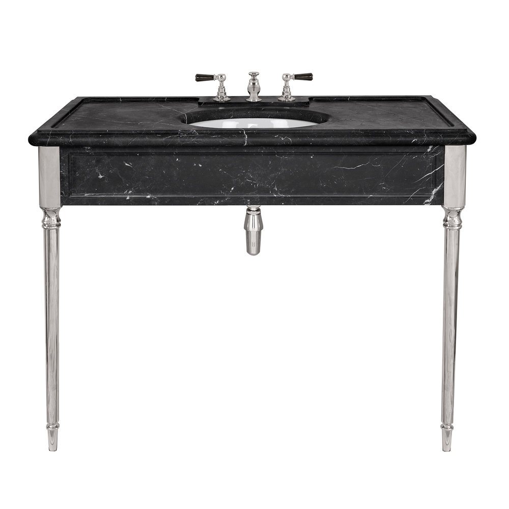 Lefroy Brooks Marble LB Edwardian single black marquina marble console with legs LB-6334BK