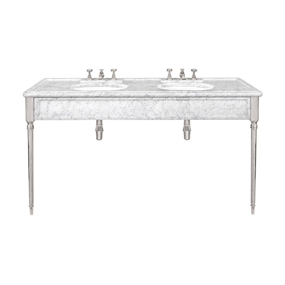 Lefroy Brooks Marble LB Edwardian double carrara marble console with legs LB-6434WH