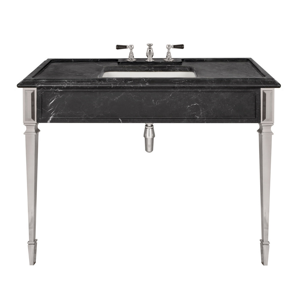 Lefroy Brooks Marble LB Mackintosh single black marquina marble console with square deco legs LB-6343BK