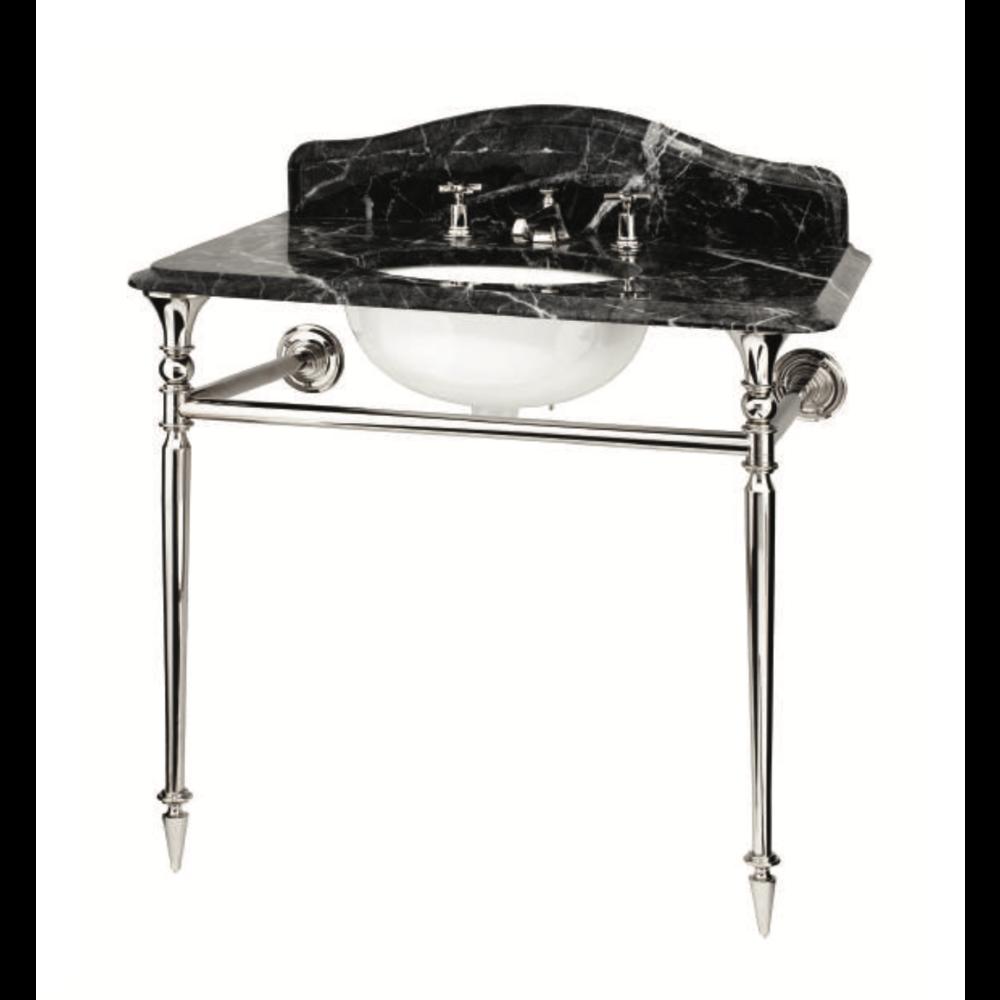 Bard & Brazier B&B Hepburn Single Marquina Carnico marmer console wastafel met onderstel