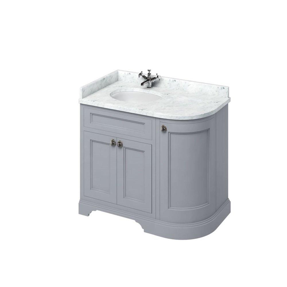 BB Edwardian 100 basin unit with Carrara white Minerva top and basin left hand FC2-BC98L