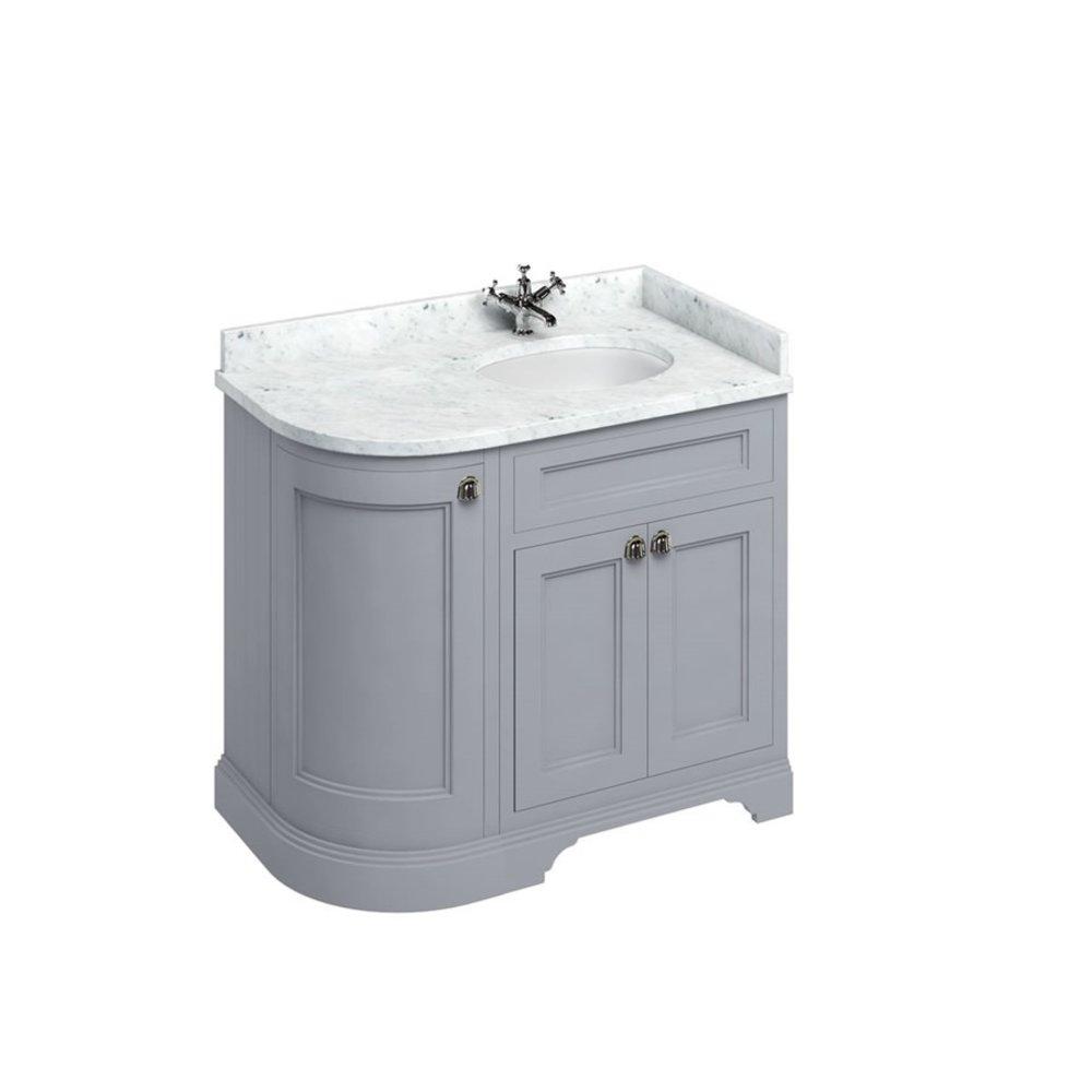 BB Edwardian 100 basin unit with Carrara white Minerva top and basin right hand FC3-BC98R